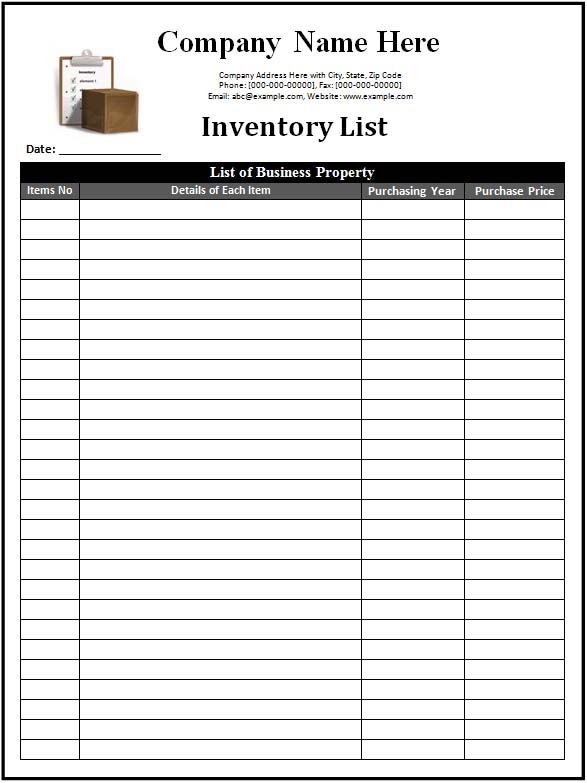 Inventory-list-template