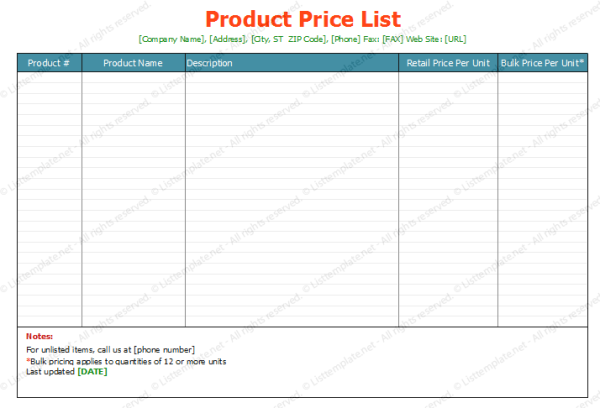 Free Printable Price List Template Soft Templates