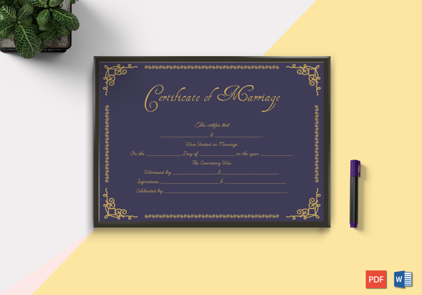 Wedding certificate templates printable designs soft templates designed marriage certificate template is a fancy way to display your marriage they cant be used for any legal purposes and cannot in any way replace yelopaper Gallery